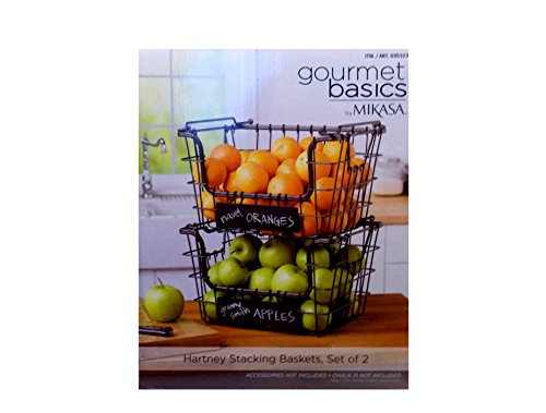Mikasa Gourmet Basics Wire Storage Basket 2 Pack With Chalkboard by Mikasa