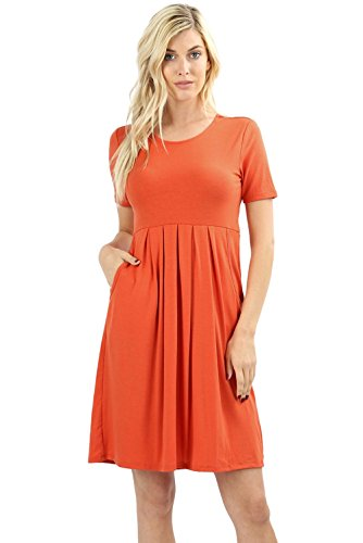 (Women's Pleated Swing Dress Short Sleeve Casual T Shirt Loose Dress with Pockets - Ash Copper (Large))