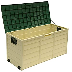 Outdoor Garden Plastic Storage Lockable Utility Tool Chest Cushion Shed Box 280L (Cream/Green)