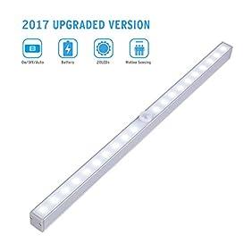Closet Motion Sensor Light, Cshidworld 3 Mode Switch Wireless Portable 20-LED Night Lighting Bar Panty Cabinet Lamp(Battery Operated)