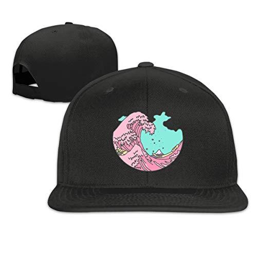Outdoor Japanese Anime Pastel Wave Flat Bill Plain Snapback Hat Adjustable Trucker Baseball Cap Sun Protection Hat Black
