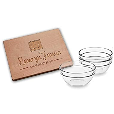 Lauryn Janae Premium Mini 3.5  inch Stackable Glass Dipping Sauce Custard Pinch Prep Bowls (Set of 3)