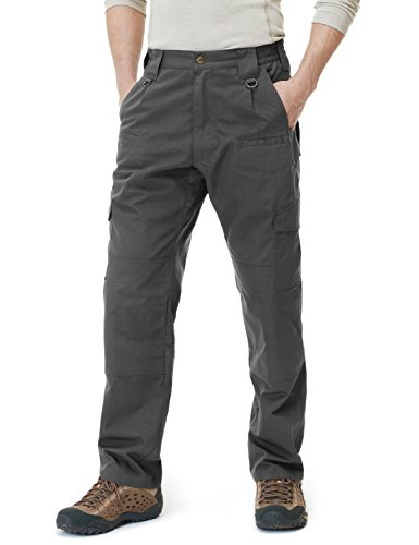 Mens Hiking Pants - CQR Men's Tactical Pants Lightweight EDC Assault Cargo, Duratex(tlp104) - Charcoal, 32W/32L.