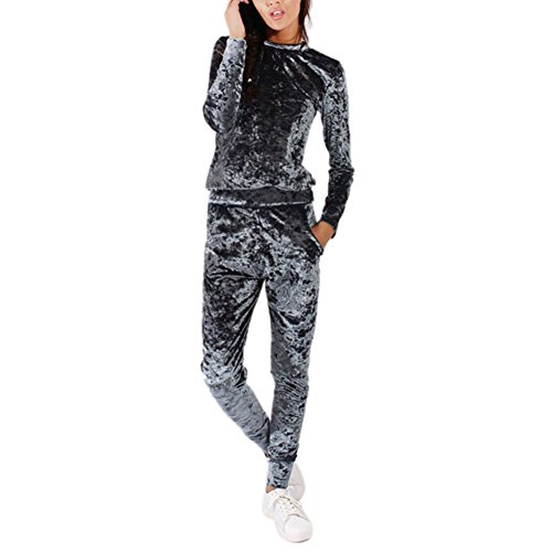 Daxin Womens Crushed Velvet Suit Sweatshirt Pants Lounge Wear Two Piece Set Tracksuit Jogger Crushed Velour Pant