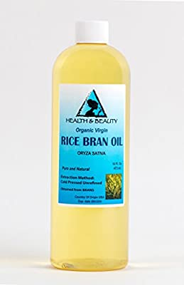 Rice Bran Oil Organic Unrefined by H&B OILS CENTER Raw Virgin Cold Pressed Premium Quality Natural Pure 16 oz by H&B Oils Center Co.