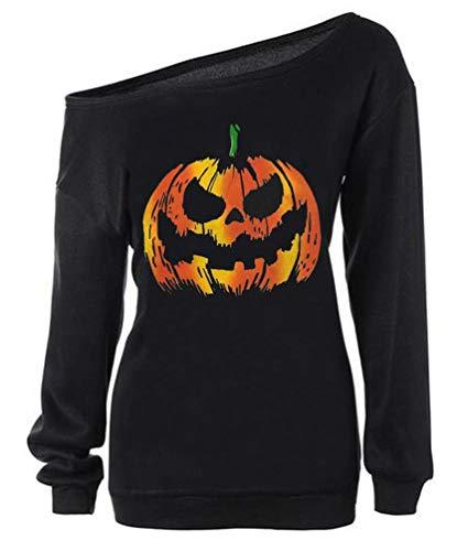 RJXDLT Women's Halloween Shirt Slouchy Sweatshirt Off Shoulder Pumpkin Pullover 27 Black 3XL ()
