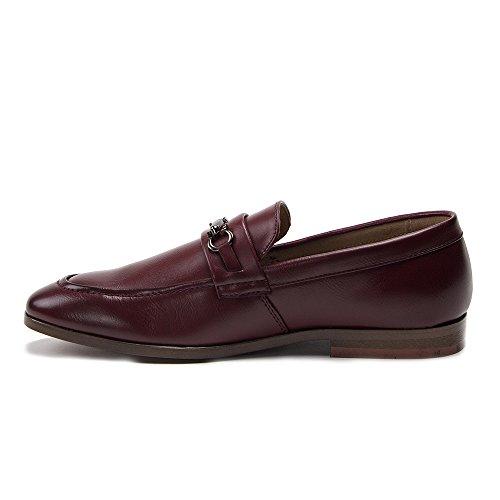Nya Man 19037 Läder Fodrad Slip På Häst Bit Loafers Skor Vinröda