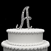 Diamante Rhinestone Crystal Monogram Letter Alphabet Cake Toppers For Wedding Birthday Party Decoration 1pcs (A)