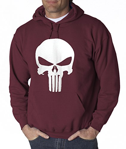 New Way 216 - Hoodie The Punisher Skull Unisex Pullover Sweatshirt XL Maroon