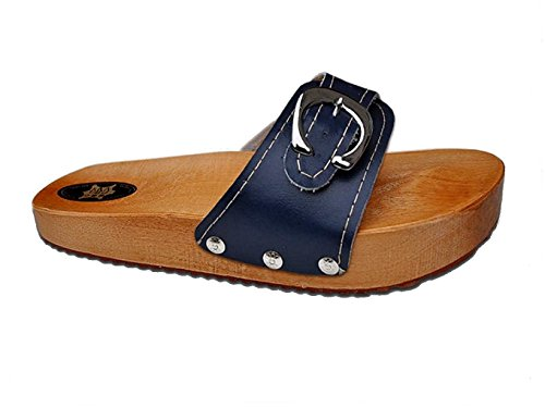 Leather Clog Sandals - 'Marited' Navy Blue Anti Cellulite Medical Slimming Sandals Clogs Shoes Natural Wood and Leather (us9 eu40)