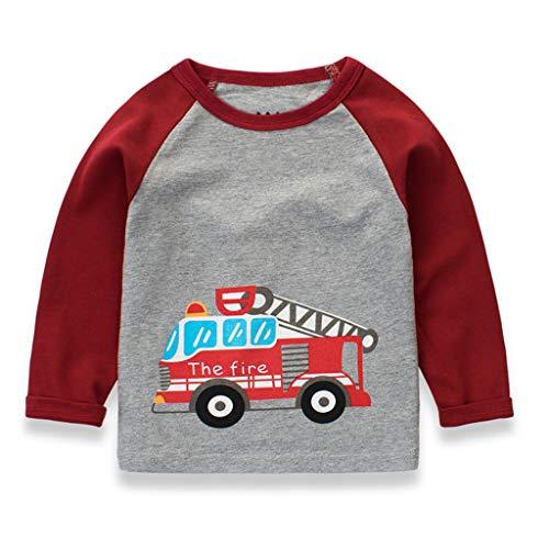 Baby Boys' T-Shirts,Crytech Toddler Kids Long Sleeve Organic Crew Neck Cartoon Car Dinosaur Bear Tiger Animal Pattern Graphic Tee Shirt Autumn Winter Tops Clothes 1T-7T (3-4 Years, Red)