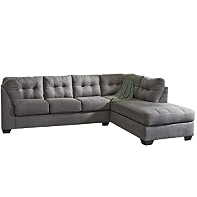 Flash Furniture Benchcraft Maier Sectional with Right Side Facing Chaise in Charcoal Microfiber - Contemporary Style 2 Piece Sectional L Shaped Configuration - sofas-couches, living-room-furniture, living-room - 414azaCIXiL. SS400  -