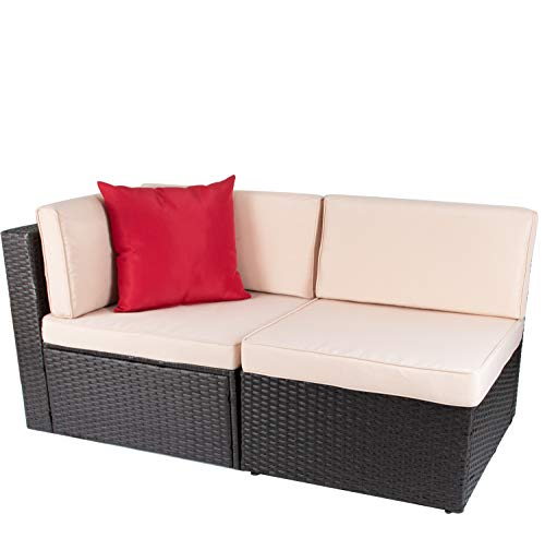 Devoko 2 Pieces Patio Furniture Sofa Sets Outdoor All-Weather Sectional Corner Sofa and Armless Sofa (Brown)