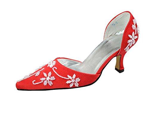 Talloncino Da Donna Perline Slip-on In Raso Da Sposa, Scarpe Da Sera Rosse, Tacco 6,5 Cm