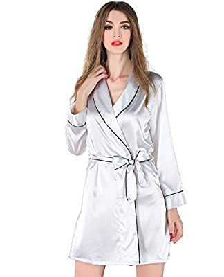 SWOMOG Womens Lightweight Kimono Bridesmaids Spa Robe Bathrobe Comfort Sleepwear