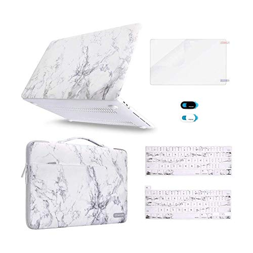 MOSISO Compatible with MacBook Pro 13 inch Case 2016-2020 Release A2338 M1 A2289 A2251 A2159 A1989 A1706 A1708, Plastic Hard Shell&Sleeve Bag&Keyboard Skin&Webcam Cover&Screen Protector, White Marble