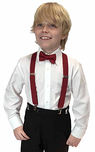 Spencer J's Boys X Back Suspenders & Bowtie Set Variety of Colors (Apple Red) -