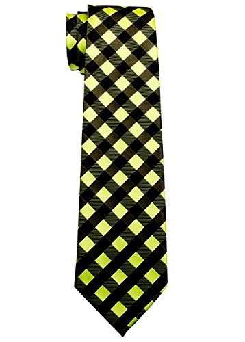 Retreez Classic Check Woven Microfiber Boy's Tie (8-10 years) - Green and Army Green Check