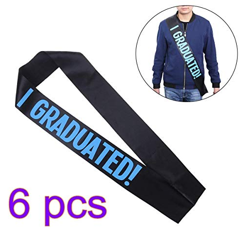 Polymer Graduation Sash Graduate Satin Sash Party Accessory Graduation Party Supplies,Pack of 6 (Blue Pattern)]()