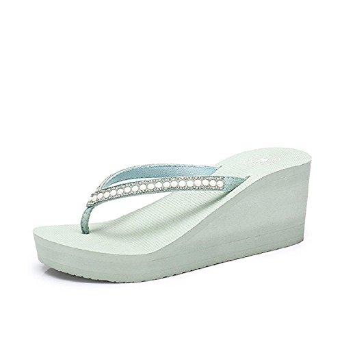 Camel Womens Flip Flops Wedge Sandals Platform Heel Thongs Beach Shoes Green paZJad9dfY