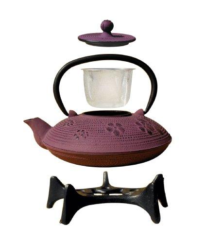 Old Dutch Greek Wine Cast Iron Kamakura Teapot with Stand, 26-Ounce