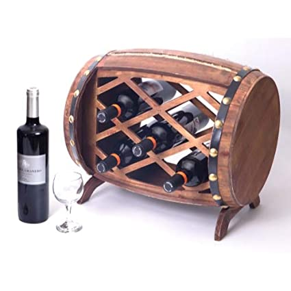 Amazoncom 7 Bottle Wood Wine Rack Barrel Design Functional