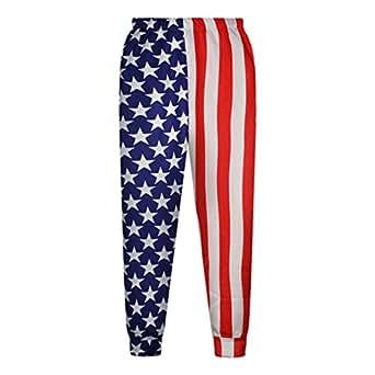 Women Pants Flag 3D Punk Style Warm Sweatpants Joggers Sportwear (S)