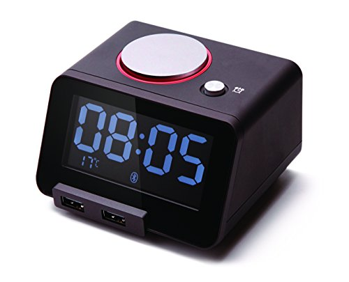 - Homtime Bluetooth Alarm Clock Speaker for Bedrooms, Dual USB Ports for iPhone/iPad/iPod/Android, LCD Display, Thermometer, Personalized Alarm Ring, Black