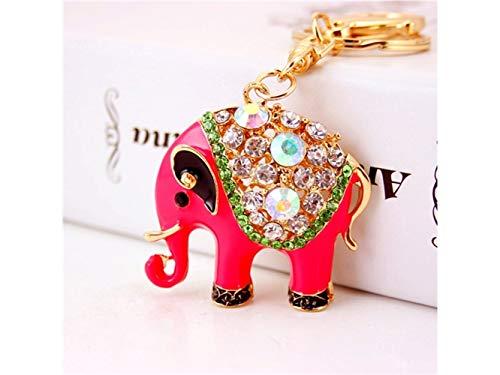 Yunqir Lightweight Cute Creative Diamond Elephant Pendant Key Chain Bag Purse Decoration Keyring(Rosy) by Yunqir