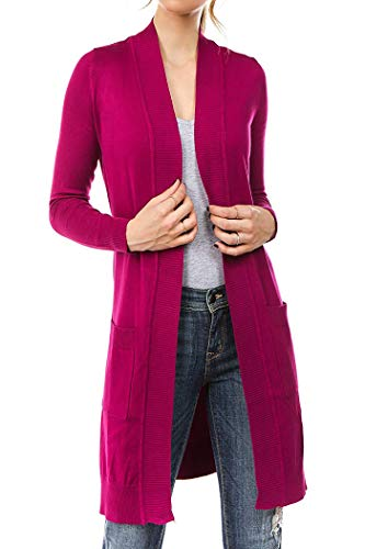 Women's Long Soft Casual Cardigan with Pockets - Button Closure or Open Front SPNBG1_Magenta M