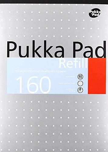 Pukka Pad Notizblock, A4, gelocht, 4-fach gelocht, liniert, fein und Rand, 80 Seiten, Weiß, 6 Stück 12er-Pack weiß
