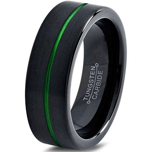 Tungsten Wedding Band Ring 6mm 8mm 10mm for Men Women Green Black Pipe Cut Brushed Polished Center Line FREE Custom Laser Engraving Lifetime Guarantee