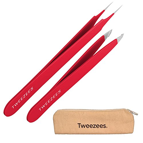 Tweezees Precision Red Stainless Steel Tweezers | Professional Slant Tip & Splinter Tip Tweezer | Extra Sharp Hair Removal Tool | Best Set for Eyebrow Shaping