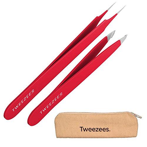 Tweezees Precision Stainless Steel Tweezers - Professional Slant Tip & Splinter Tip Tweezer - Extra Sharp Hair Removal Tool - Best Set for Eyebrow Shaping (Red)