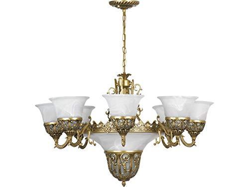 Lampadario shabby chic ottone bianco 11 luci e27 stile liberty