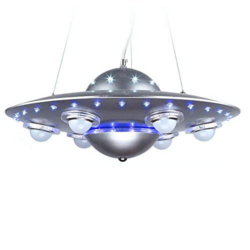 DCST Children's Room Chandelier, Cartoon Creative Dreamy Flying Saucer Ceiling Lamp, Designer's Unique Design, Designed for Children's Lighting (Color : Gray, Size : 50cm)