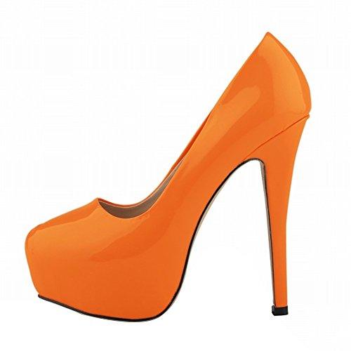 HooH Women's Simple Candy Color OL Platform Stiletto Dress Pump Orange DT6qxOny