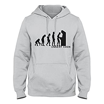 Hoodie Evolution of Insert Coin Cool Retro Grammer Gift Boys