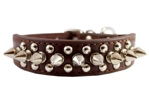8″-10″ Brown Leather Spiked Studded Dog Collar 7/8″ Wide for Small/X-Small Breeds and Puppies, My Pet Supplies