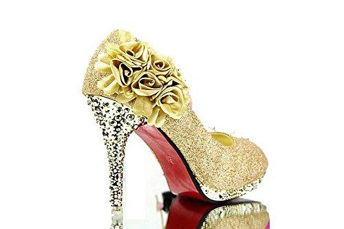 AllhqFashion Mujeres Tacón Brillante Sin Cordones De Salón con Flores y Diamante GoldHXSF6