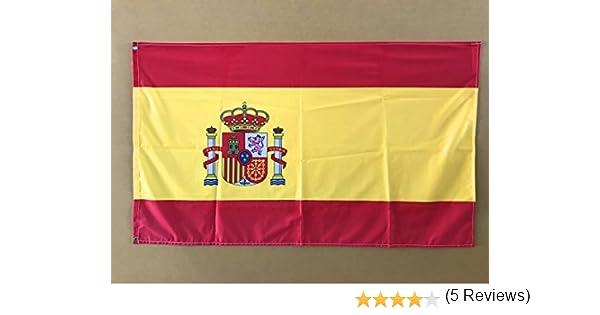 Bandera de España 85x1,50cm | Reforzada y con Pespuntes | Bandera de España Con 2 ojales Metálicos y Resistente al Agua: Amazon.es: Hogar