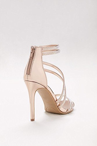 Davids Nuptiale Bi-strass Orné De Cristaux Sandales Stiletto Style Truelove93s Or Rose