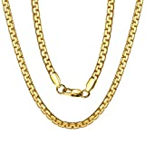 Chain Necklaces for Men Stainless Steel 18K Gold Plated 4mm 18 inch Gift