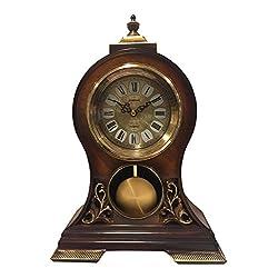 Elegant, Decorative,grandfather Clock Hand Painted Wood Modern Mantel with Swinging Pendulum Shelf,Tabletop,desk,buffet, Color Mahogany