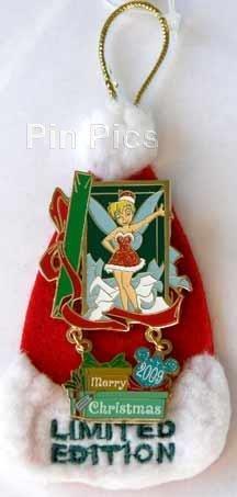 Disney Pins - Merry Christmas 2009 - Tinker Bell - Limited Edition - Santa Hat Backer Card - Pin 73778 -
