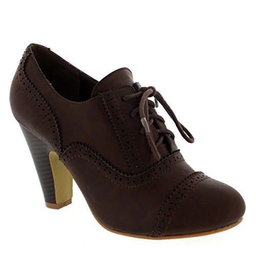 (Womens Mary Jane Brogue Work Office Shoes Lace Up Ankle Boot Cuban Heels - Brown - 8-39 - CD0065)