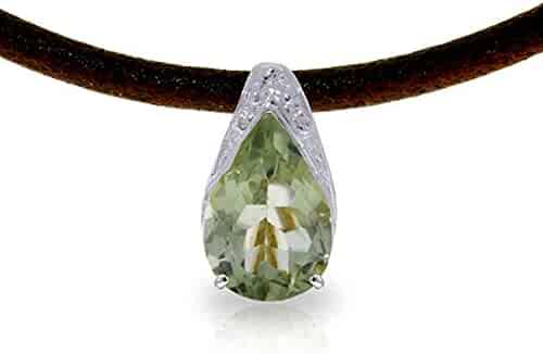 ALARRI 9.55 Carat 14K Solid White Gold Exaggeration Is Good Green Amethyst Necklace with 24 Inch Chain Length
