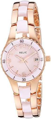 Authentic Ceramic Watch - Relic Women's Charlotte Quartz Stainless Steel and Ceramic Dress Watch, Color Rose Gold-Tone, Pink (Model: ZR12555)