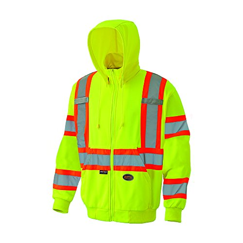 Pioneer V1060560U Hi-Vis Micro Fleece Zip Hoodie - Yellow / Green (Medium)