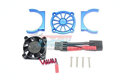 (GPM Traxxas E-Revo 2.0 VXL Brushless (86086-4) Upgrade Parts Aluminum Motor Heatsink with Cooling Fan - 1 Set Blue)